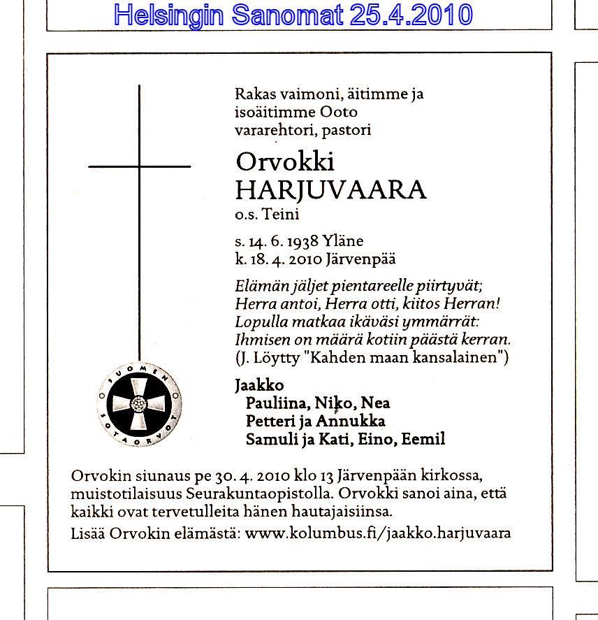 Helsingin Sanomien kuolinilmoitus 25.4.2010